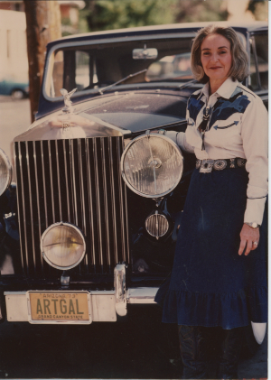 Elaine Horwitch by her Rolls-Royce, circa 1980s. Photograph courtesy Deena Horwitch Semler.