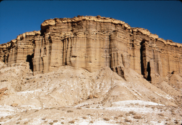 Layered sediments in the Rio Puerco Valley, New Mexico. Photograph by Larry Crumpler.