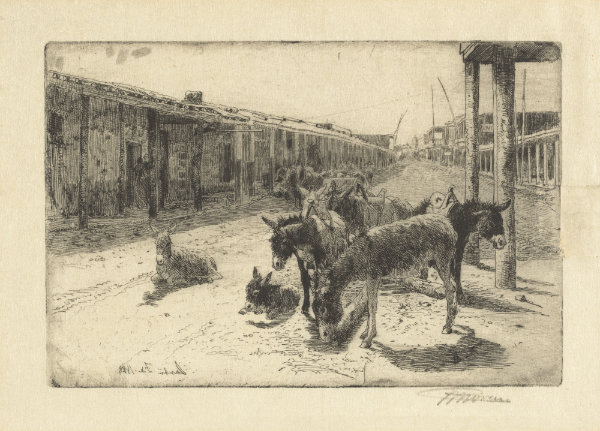 """In 1883, Santa Fe resembled """"nothing so much as a collection of brick kilns,"""" according to Susan Elston Wallace, wife of Territorial Governor Lew Wallace. Peter Moran, Santa Fe, 1883. Etching on wove paper. 4 1⁄2 ×  6 7⁄8  in. Reba and Dave Williams Collection, National Gallery of Art, Washington, image no. 2008.115.3585."""
